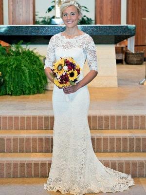 1/2 Sleeves Sweep Train Sheath Ruched Lace Scoop Neckline Wedding Dresses UK_1