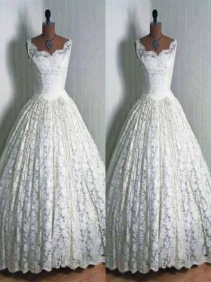 Lace Ball Gown Sleeveless Floor-Length Sweetheart Wedding Dresses UK_1