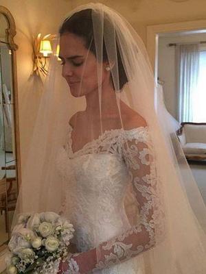 Off-the-Shoulder Court Train Sheath Lace Long Sleeves Wedding Dresses UK_3