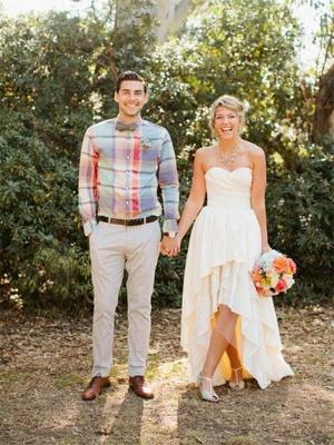 A-Line Asymmetrical Ruffles Sweetheart Sleeveless Sweetheart Wedding Dresses UK_1