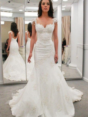 Sexy Mermaid Short Sleeves Applique Lace Sweetheart Wedding Dresses UK_1