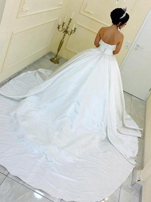 Cathedral Train Ball Gown Sleeveless Satin Ribbon Sweetheart Wedding Dresses UK_3