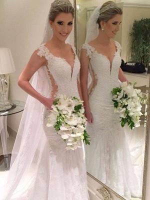 Sleeveless  Sexy Mermaid V-neck Lace Sweep Train Wedding Dresses UK_1