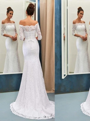 Off-the-Shoulder Lace  Sexy Mermaid Long Sleeves Sweep Train Wedding Dresses UK_1