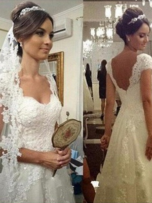 Floor-Length A-Line Sweetheart Sleeveless Lace Tulle Cheap Wedding Dresses UK_1