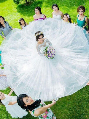 Long Sleeves Court Train Ball Gown Bateau Tulle Cheap Wedding Dresses UK_3