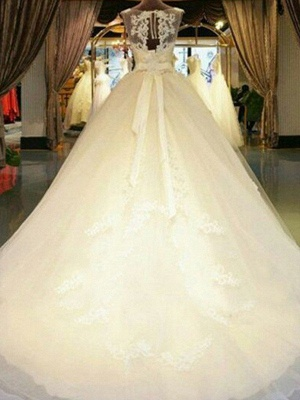 Sleeveless Ribbon Scoop Neckline Applique Tulle Cheap Ball Gown Cathedral Train Wedding Dresses UK_3