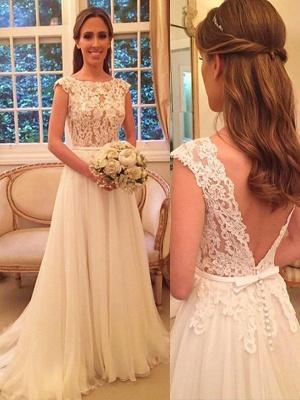 Scoop Neckline Sleeveless Sweep Train A-Line  Wedding Dresses UK_1