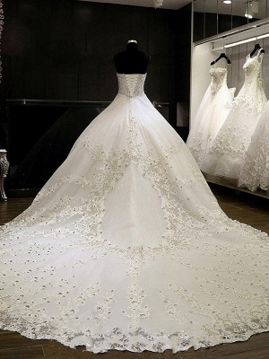 Cathedral Train Tulle Cheap Ball Gown Rhinestone Sweetheart Sleeveless Wedding Dresses UK_3