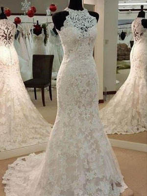 Applique Lace Sheath Sleeveless Scoop Neckline Sweep Train Wedding Dresses UK_1