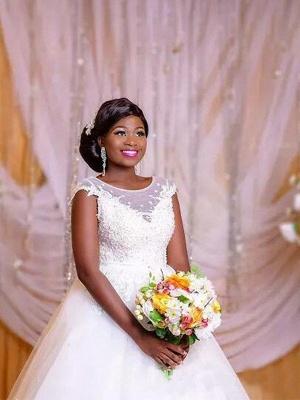 Ball Gown Applique Floor-Length Tulle Sleeveless Scoop Neckline Floor-Length Wedding Dresses UK_4