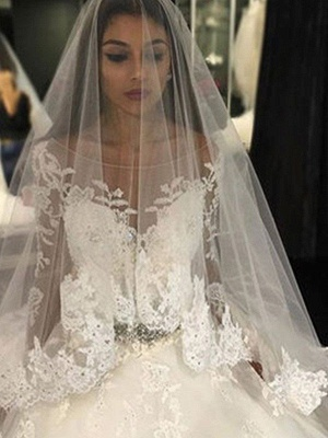 Lace Tulle Cheap Cathedral Train Applique Scoop Neckline Long Sleeves Ball Gown Wedding Dresses UK_3