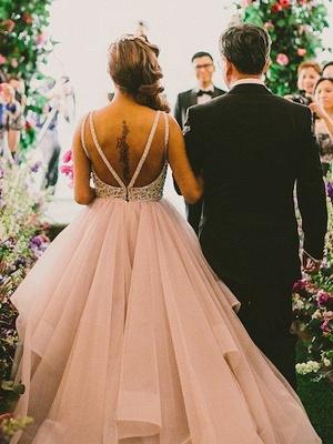 Organza Scoop Neckline Ball Gown Beads Sweep Train Sleeveless Wedding Dresses UK_3