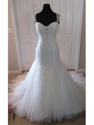 Tulle Cheap  Sexy Mermaid Straps Court Train Sleeveless Wedding Dresses UK_3