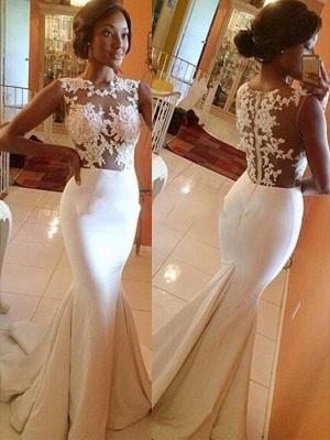 Satin Sexy Mermaid Sweep Train Lace Scoop Neckline Sleeveless Wedding Dresses UK_1