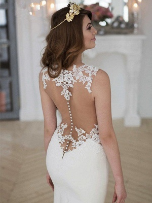Sexy Mermaid Sweep Train Applique Lace Sleeveless Scoop Neckline Wedding Dresses UK_5