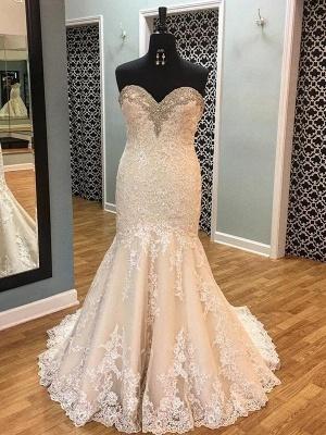 Court Train Tulle Cheap  Sexy Mermaid Sleeveless Applique Sweetheart Wedding Dresses UK_1