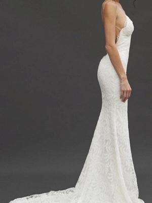 Court Train Sheath Spaghetti Straps Lace Sleeveless V-neck Wedding Dresses UK_4