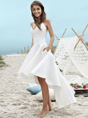 Sleeveless A-Line Asymmetrical Satin Spaghetti Straps Ruched Wedding Dresses UK_1