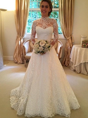 Lace High Neck Court Train Ball Gown Long Sleeves Wedding Dresses UK_1