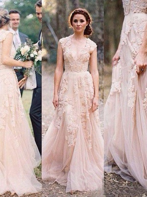 Tulle A-Line Sweep Train Applique Sleeveless  V-Neck Wedding Dresses UK_4
