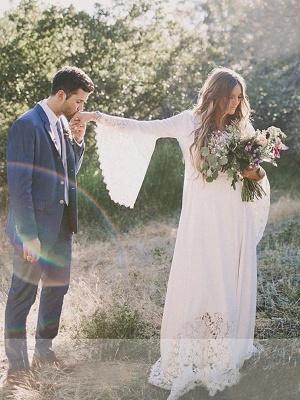 Floor-Length Lace A-Line Ribbon  V-Neck  Long Sleeves Wedding Dresses UK_5