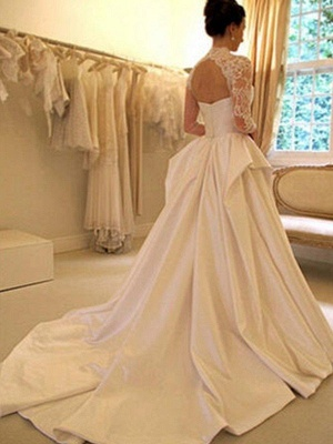 Satin Lace Ball Gown Long Sleeves High Neck Wedding Dresses UK_3