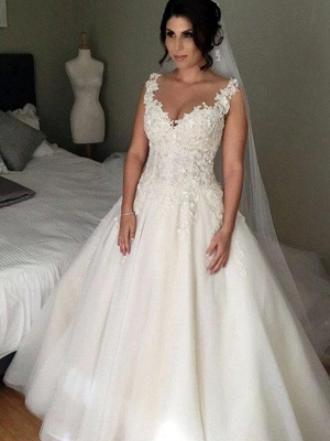 V-Neck Ball Gown Tulle Sleeveless Applique Lace Court Train Wedding Dresses UK_1