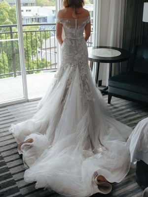 Applique  Sexy Mermaid Off-the-Shoulder Lace Tulle Cheap Court Train Sleeveless Wedding Dresses UK_3