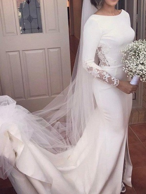 Lace Satin Long Sleeves Sexy Mermaid Scoop Neckline Court Train Wedding Dresses UK_1