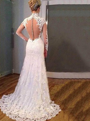 V-Neck Sweep Train Applique Lace Sexy Mermaid Long Sleeves Wedding Dresses UK_4