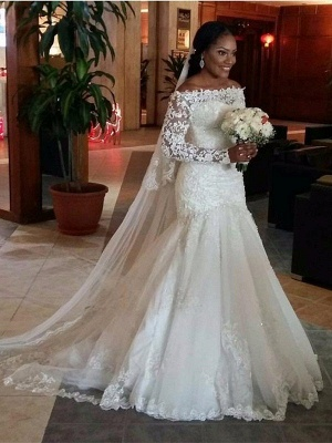 Tulle Cheap Floor-Length  Sexy Mermaid Off-the-Shoulder Long Sleeves Lace Wedding Dresses UK_2