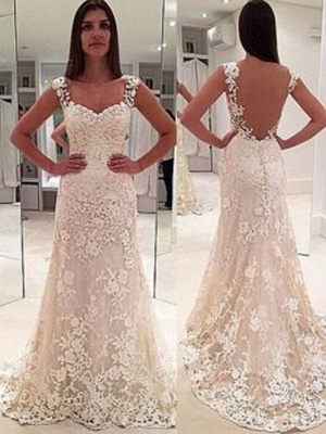 Sleeveless Sweetheart Applique Lace Sheath Straps Court Train Wedding Dresses UK_2