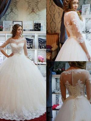 Floor-Length Scoop Neckline Ball Gown 1/2 Sleeves Tulle Applique Wedding Dresses UK_1