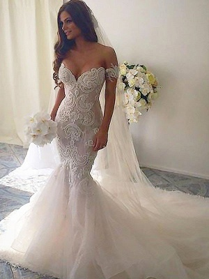 Off-the-Shoulder Sleeveless  Sexy Mermaid Tulle Cheap  Wedding Dresses UK_3