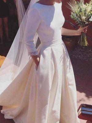 Sweep Train Ruffles A-Line Scoop Neckline Satin 3/4 Sleeves Wedding Dresses UK_1