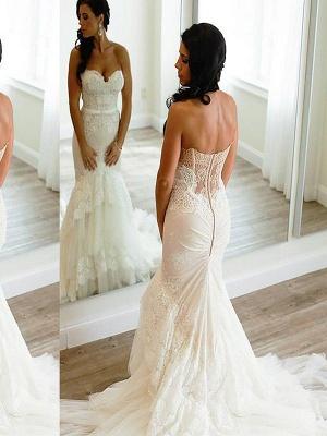 Court Train Sleeveless Sexy Mermaid Lace Tulle Sweetheart Wedding Dresses UK_1