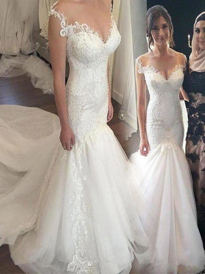 Applique  Sexy Mermaid Off-the-Shoulder Sleeveless Tulle Cheap Wedding Dresses UK_1