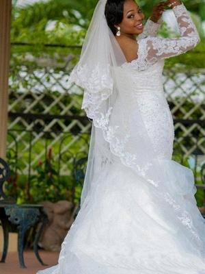 Square Sexy Mermaid  Organza Long Sleeves Applique Wedding Dresses UK_3