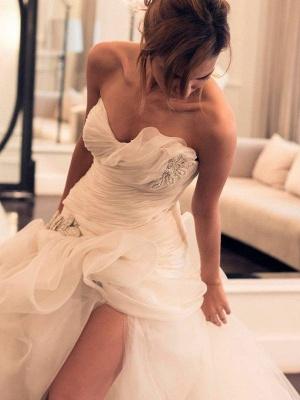 Beads Organza Sweep Train Sweetheart Sleeveless Ball Gown Wedding Dresses UK_3