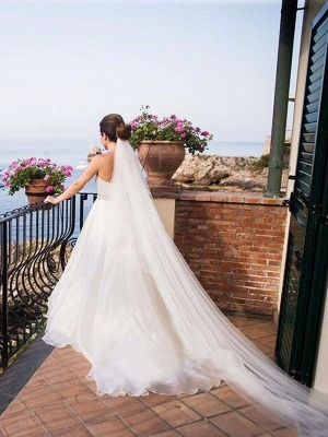 Sleeveless A-Line Sweep Train Sweetheart Tulle Beads Wedding Dresses UK_3
