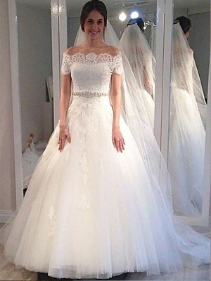 Short Sleeves Sweep Train Ball Gown Tulle Cheap Off-the-Shoulder Wedding Dresses UK_1