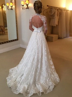 Lace High Neck Court Train Ball Gown Long Sleeves Wedding Dresses UK_3