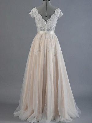 Sweep Train A-Line Sleeveless Applique Lace V-neck Wedding Dresses UK_3