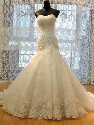 Applique Court Train Sexy Mermaid Sweetheart Tulle Sleeveless Wedding Dresses UK_4