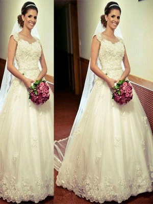 Tulle Cheap Ball Gown Sweetheart Floor-Length Sleeveless Wedding Dresses UK_1
