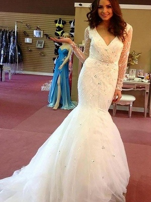 Long Sleeves V-neck  Sexy Mermaid Court Train Beads Tulle Cheap Wedding Dresses UK_1
