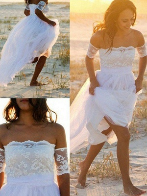 Sleeveless A-Line Floor-Length Off-the-Shoulder Lace  Wedding Dresses UK_3