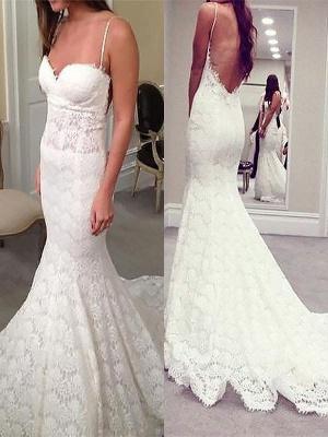 Court Train Sleeveless Sexy Mermaid Lace Spaghetti Straps Wedding Dresses UK_1