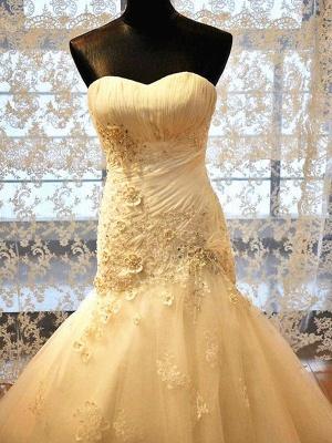 Applique Court Train Sexy Mermaid Sweetheart Tulle Sleeveless Wedding Dresses UK_5